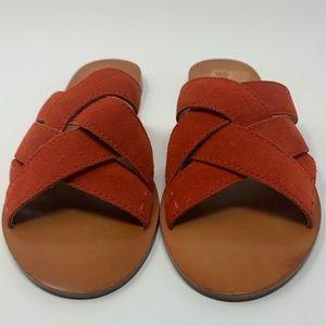 Frye Womens Carla Criss Cross Red Slide Sandals 6